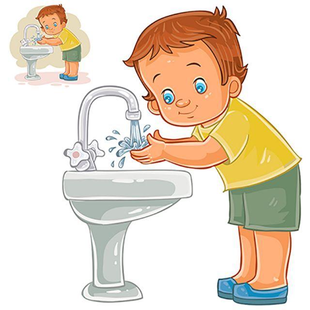 ناقلات طفل صغير يغسل يديه بالماء من الصنبور Kids Canvas Art Kids Canvas Cartoon Kids