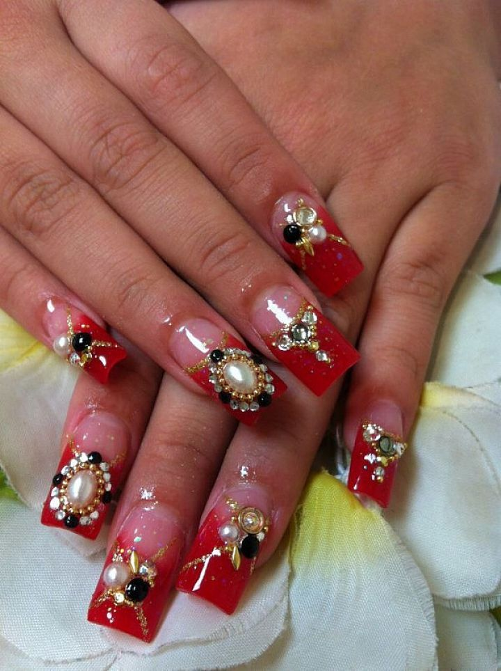 Red french tip acrylic nails