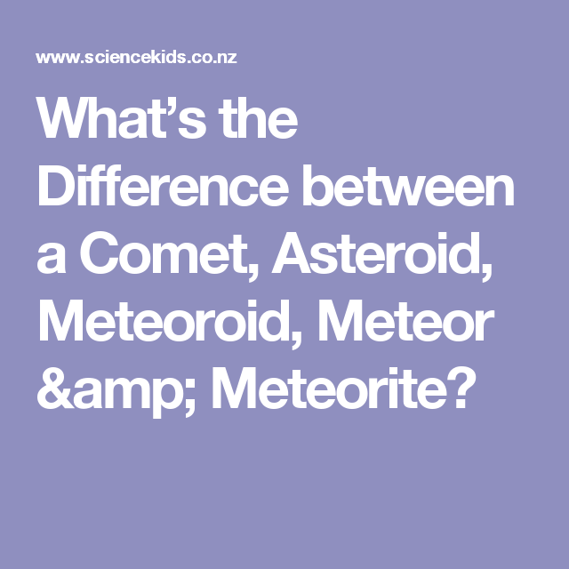 What\'s the Difference between a Comet, Asteroid, Meteoroid, Meteor ...