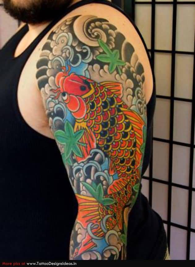 Left Back Best Koi Fish Tattoo On Side Half Back Koi Fish Tattoos Koi Fish Tattoo Japanese Tattoo Koi