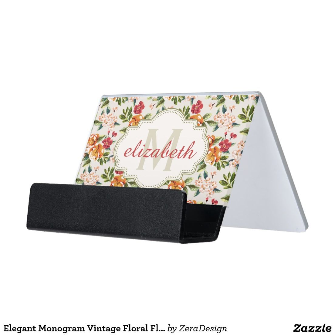 Elegant Monogram Vintage Fl Flowers
