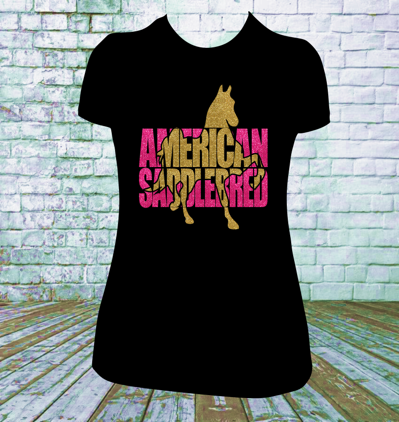 American Saddlebred Horse Glitter Tshirt