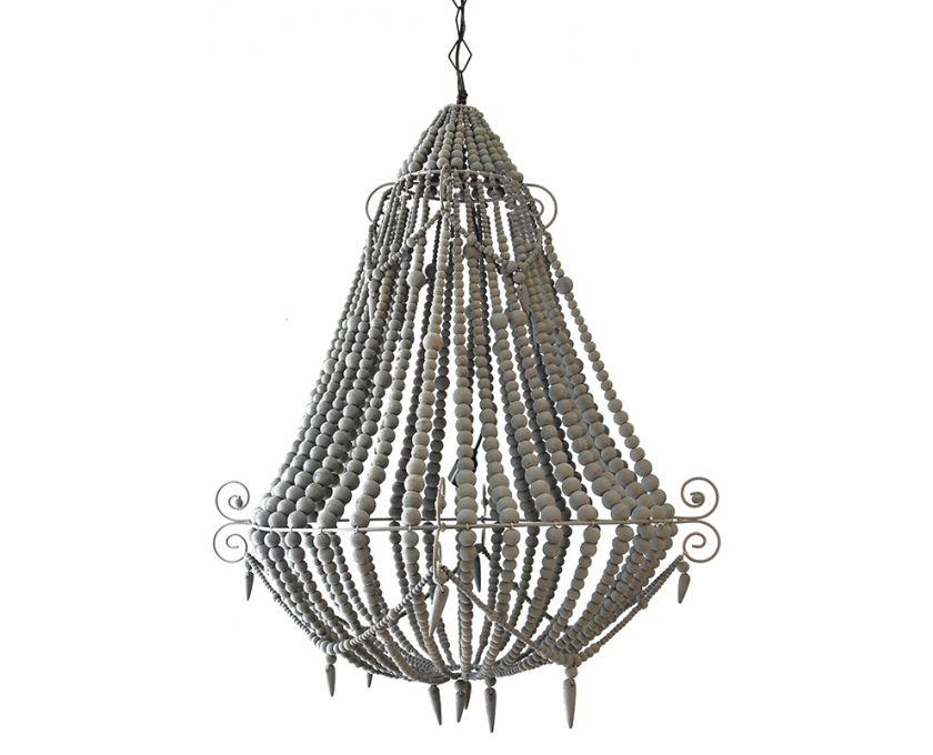 Wood Beaded Light Fixture: Beaded Grey Chandelier Large - Lighting