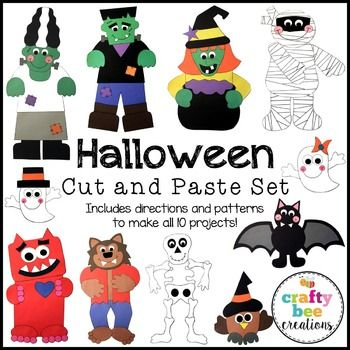 Halloween Cut and Paste Set #2This is a Halloween Cut and Paste Set #2 that includes 10 crafts for the month of October and Halloween.  It includes: Bat, Ghost, Love Monster, Mr. Frankenstein, Mrs. Frankenstein, Mummy, Owl, Skeleton, Werewolf, and Witch & Cauldron.