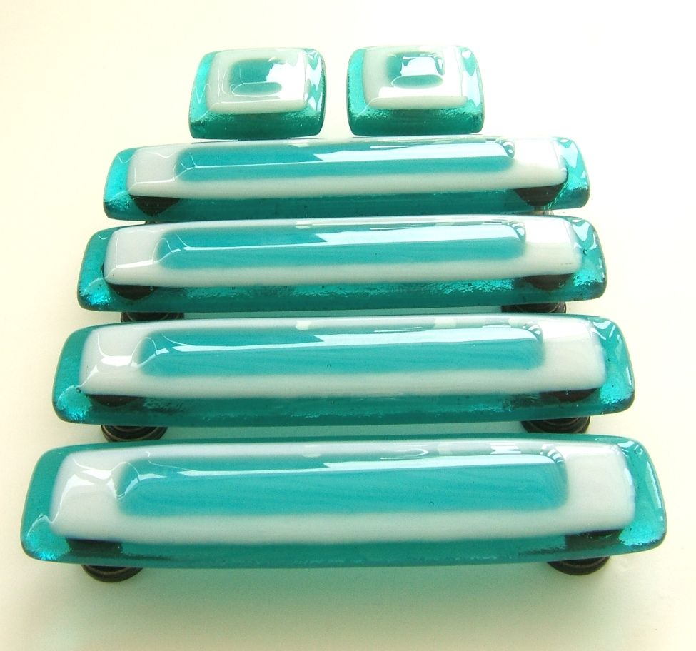 Glass Knobs and Pulls in Custom Turquoise and White Glass | Glass ...