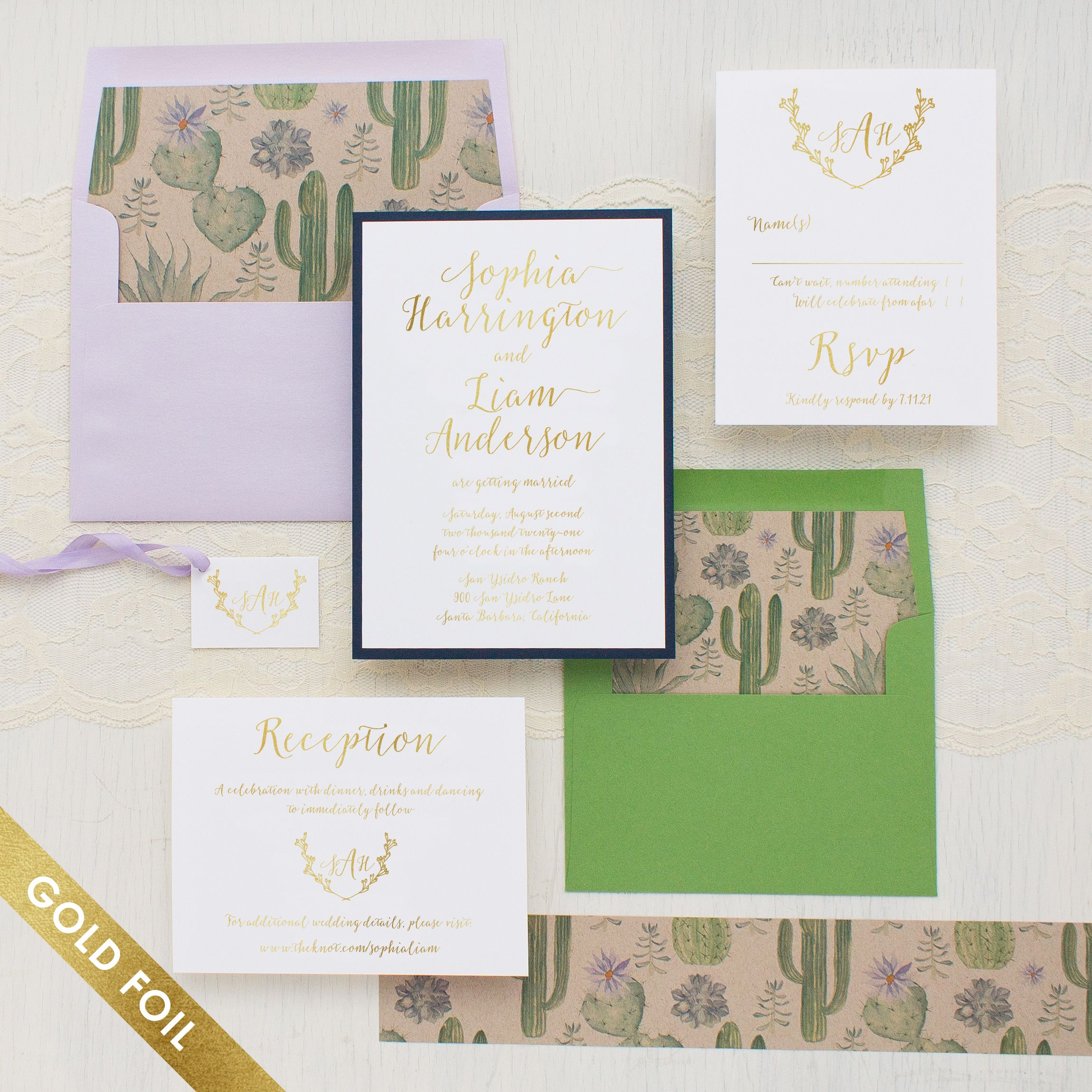 Sage Cactus Gold Foil Wedding Invitations | Sage and Weddings