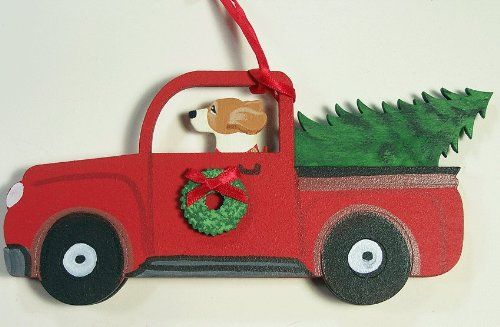 Beagle Dog Vintage Red Truck Wooden Handpainted 3 Dimensional