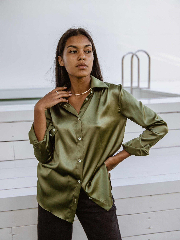 Women Silk Shirt In Olive Green Stretch Silk Khaki Blouse Long Sleeve Blouse Womens Button Down Shirt Silk Shirt Outfit Khaki Blouse Women S Button Down Shirt [ 3000 x 2250 Pixel ]