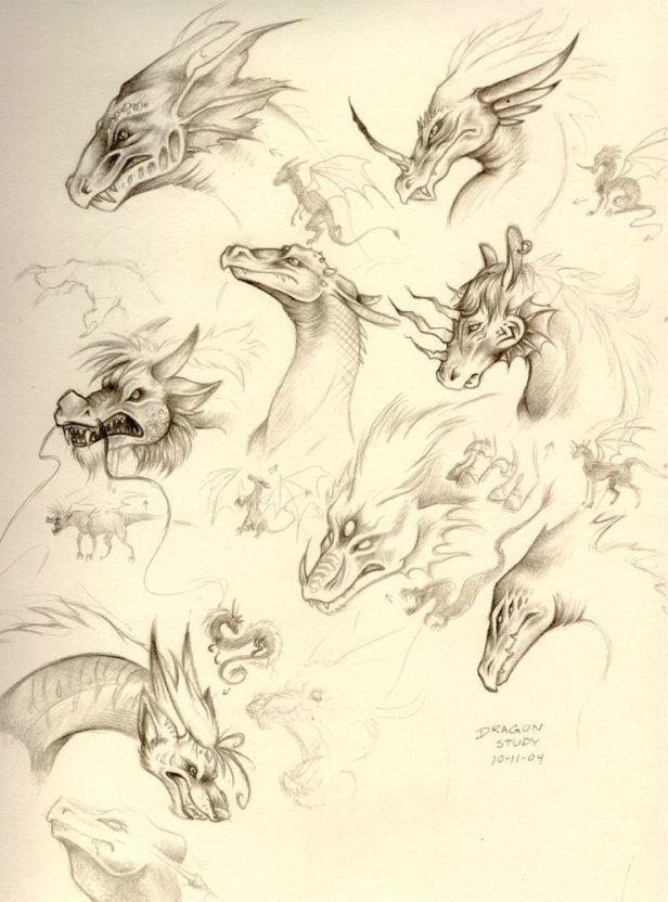 SciFi and Fantasy Art sketch: dragon head study by Kalyana (Kaly) R. Davis