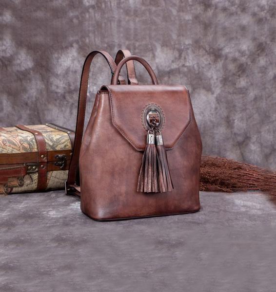 e3ec8b73708d Handmade Genuine Leather Vintage Backpack Bags handbag School Bags Purses  Women Coffee