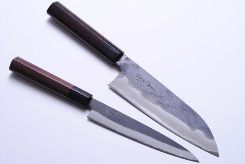 Yoshihiro Japanese Blue Steel Kuro Uchi 2pc Set Chef Knife Santoku Petty Made In Japan By Yoshihiro 199 99 Knif High Carbon Steel Kitchen Knives Knife
