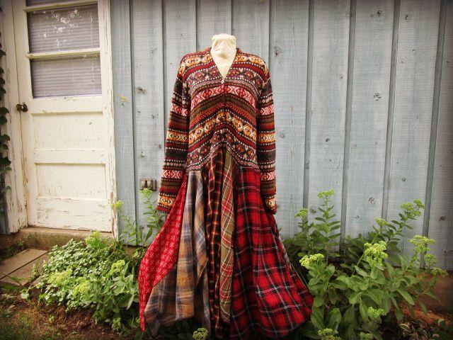 Fair Isle Plaid Flannel Long Bohemian Upcycled Sweater Dress// 1X ...