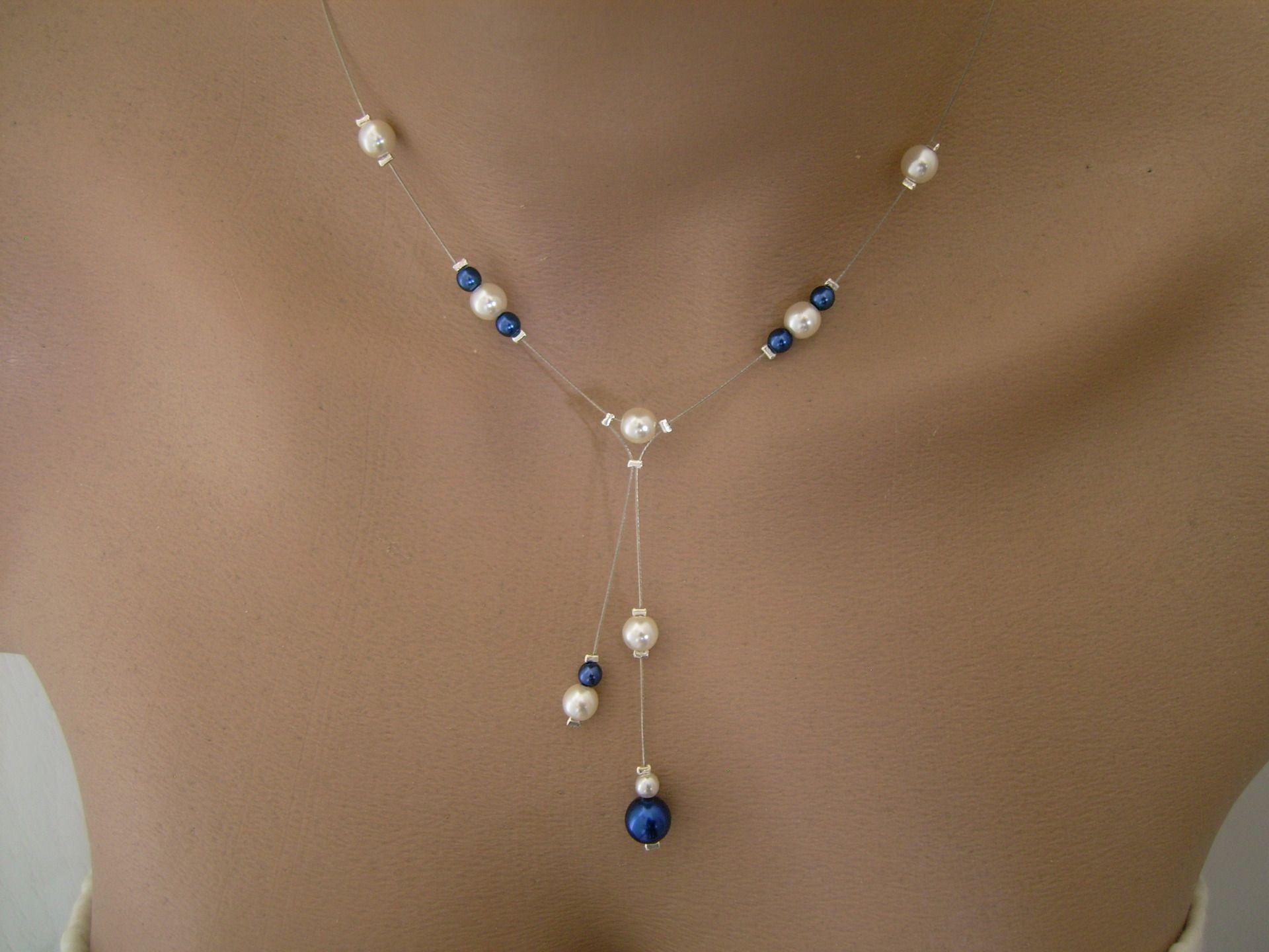 Collier Raffiné Délicat Original Ivoire Bleu Roi/ Marine/Foncé/Nuit ( dispo en Blanc/Bleu) p robe de Mariée/Mariage/Soirée perles de verre nacrées
