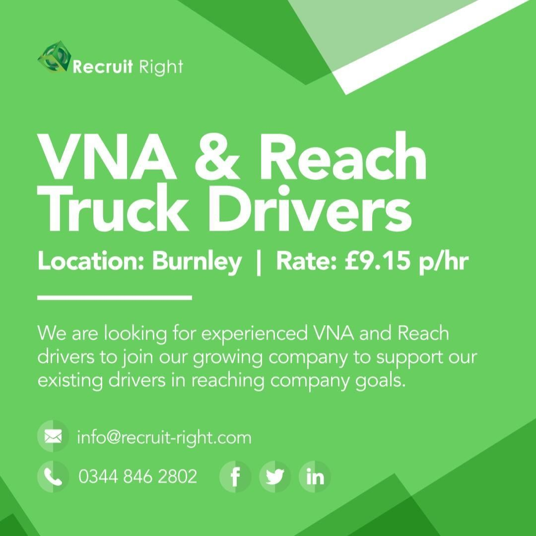 Attention all VNA & Reach Truck Drivers!! . 9.15 p/hr