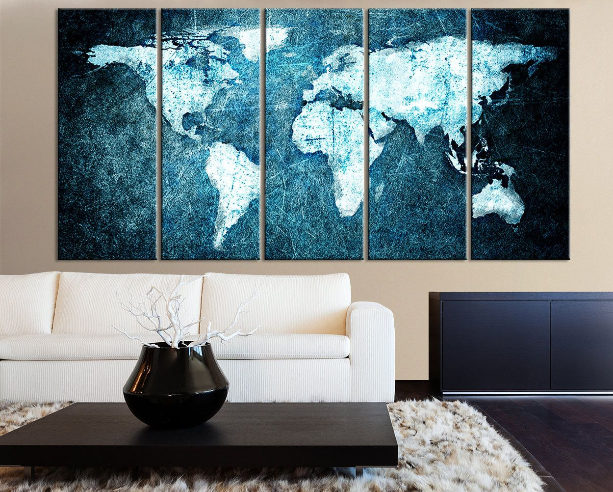 Beautiful world map blue metalic background canvas print 5 panel 3 piece world map canvas print on gray background large world map wal gumiabroncs Choice Image