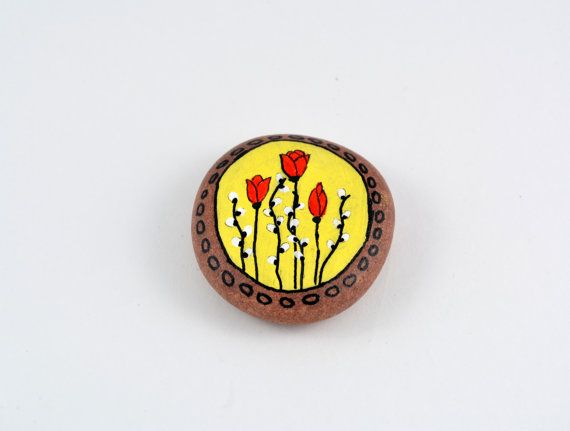 Hand painted stone. Home decor. Unique gift. Painted rock art. Original tulips painting