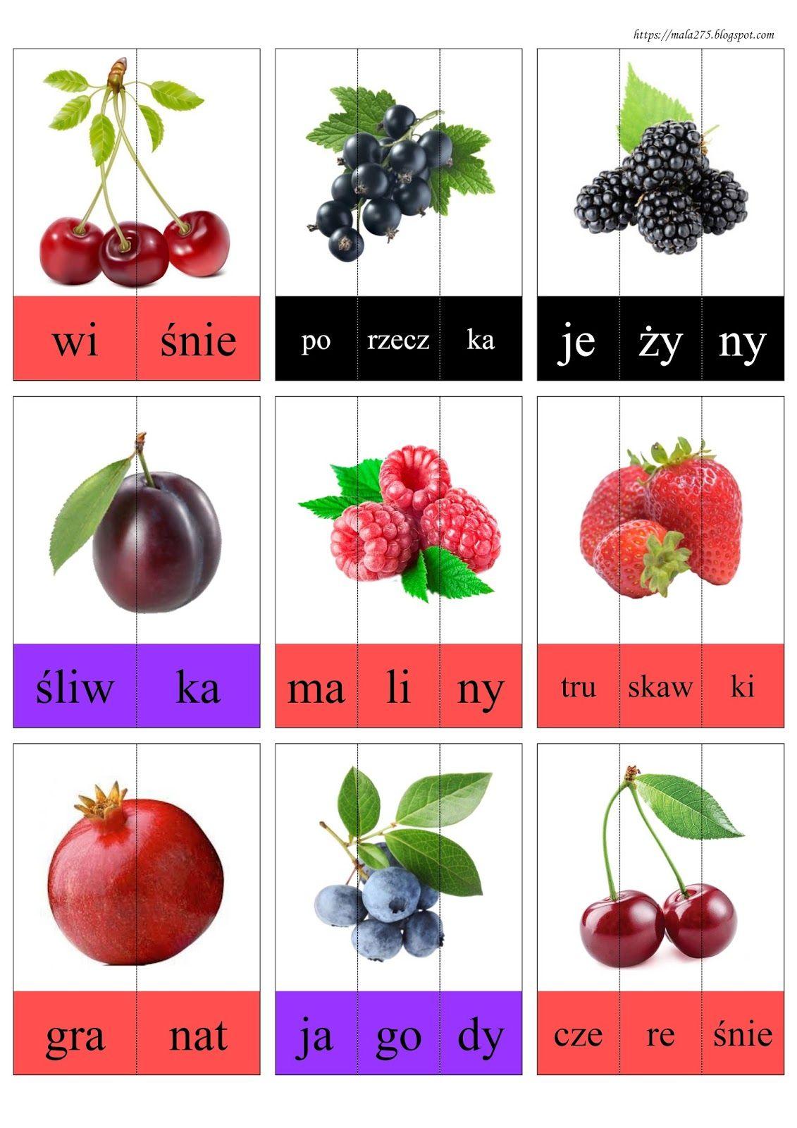 Blog Edukacyjny Dla Dzieci Dzielenie Na Sylaby Owoce In 2020 Polish Language Montessori Education