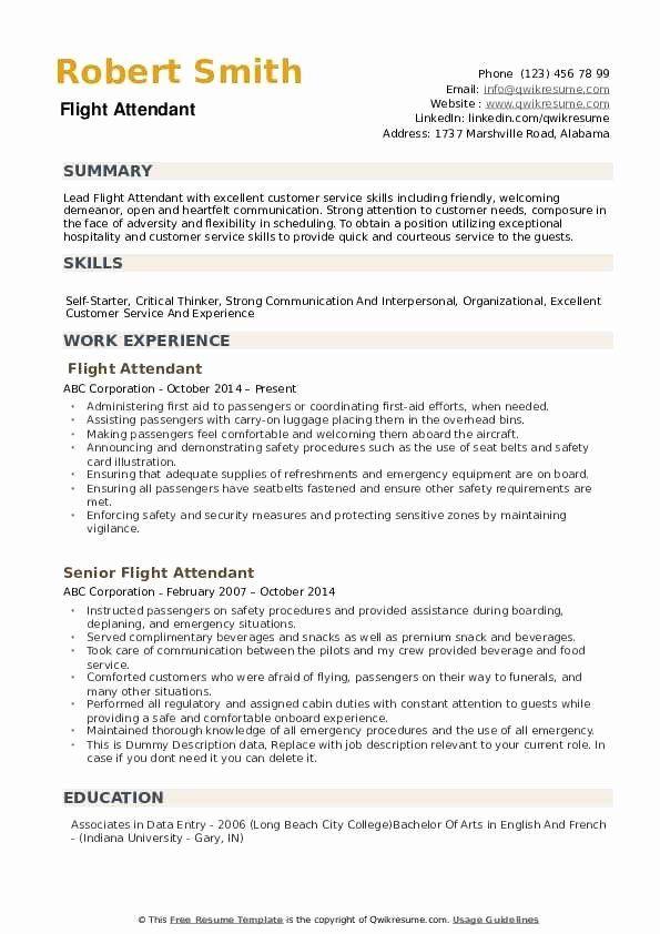 flight attendant resume no experience™  printable resume