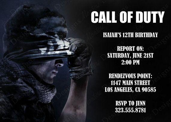 Call Of Duty Birthday Party Invitations Jpg 570 407 Birthday