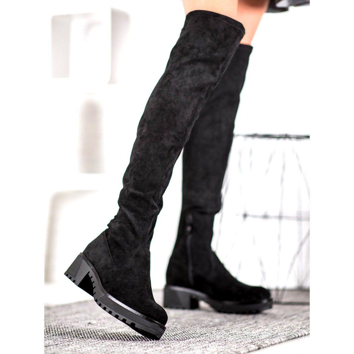 Sds Zamszowe Muszkieterki Na Platformie Czarne Over Knee Boot Boots Shoes