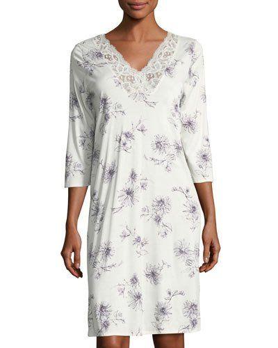 6754f1d01e HANRO CAMILLE 3 4-SLEEVE NIGHTGOWN.  hanro  cloth