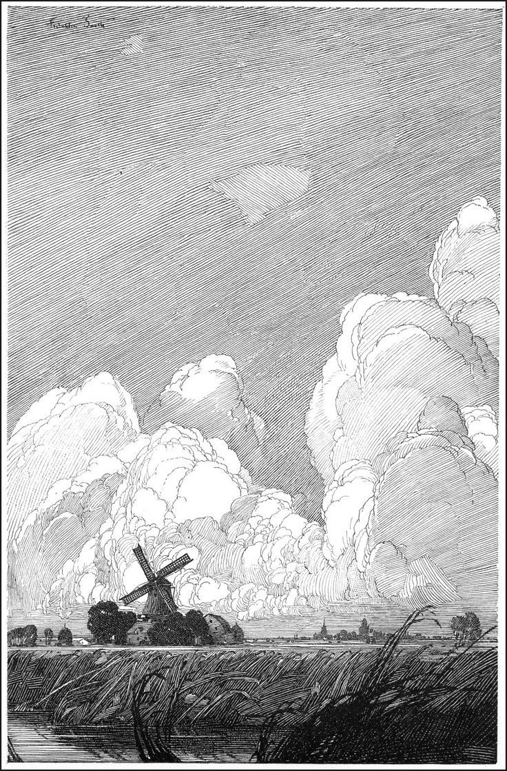 Pen And Ink Clouds : clouds, Tohad, Twitter:, Amazing, Highly, Detailed, Illustrations, Franklin, Booth, (american,, 1874-1948), Https://t.co/cznxImJapJ, Drawings,, Inspiration
