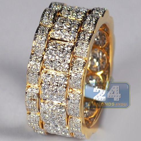 Mens Diamond Eternity Wedding Band Ring 14k Yellow Gold 2 09 Ct