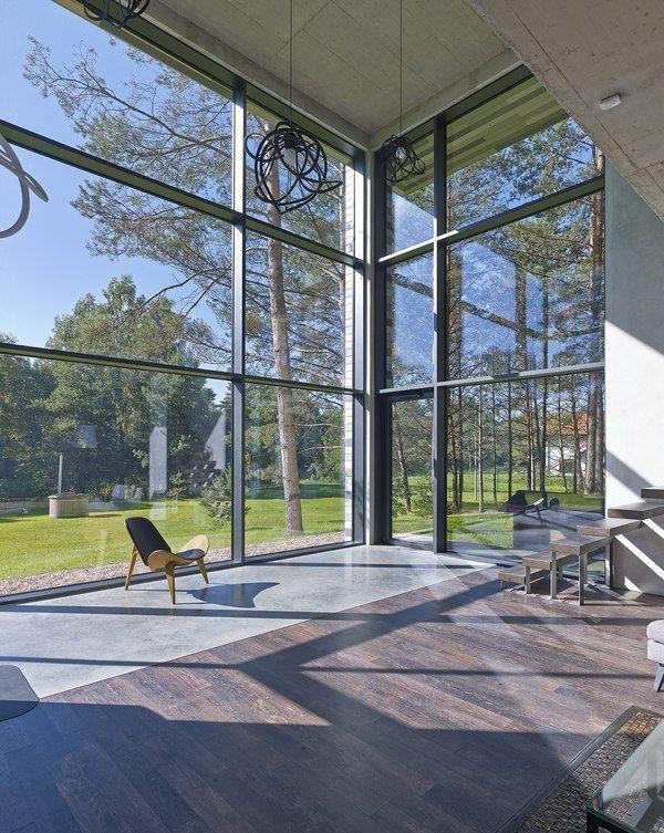 grande baie vitrée - Maison contemporaine par GYZA - Vinius ...