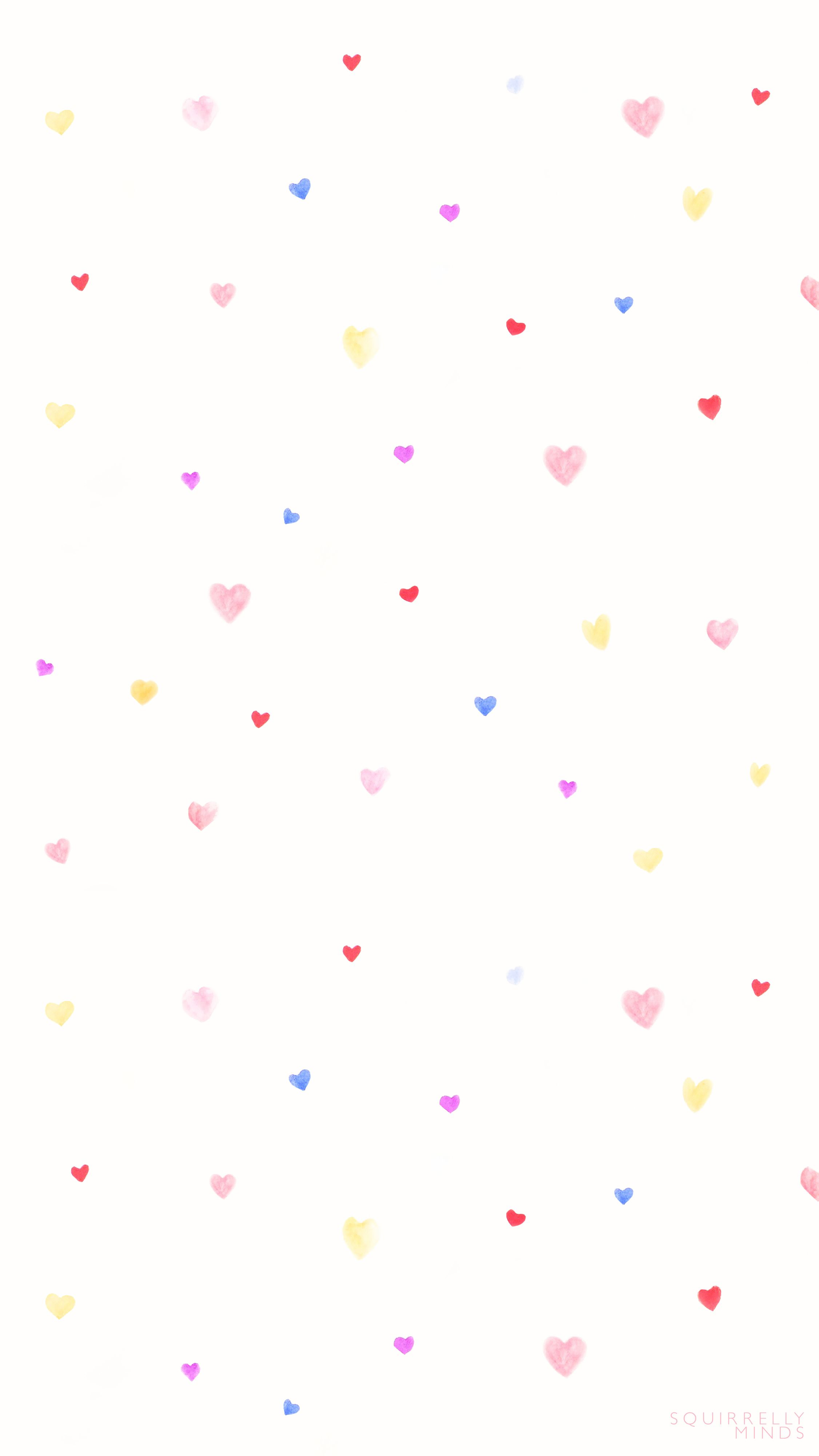 Watercolor Hearts Valentine's Day Wallpaper Downloads - Squirrelly Minds