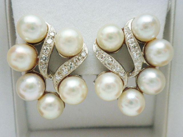 14k Pearl Diamond White Gold Clip Earrings