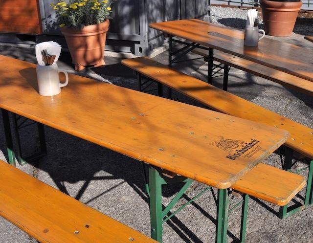 Beer Garden Tables  Love the idea of having my own beer garden  I think. Restaurant Visit  Suppenk che Biergarten in SF   Beer garden
