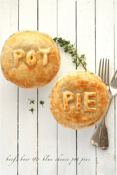 Beef, beer, and blue cheese pot pies.