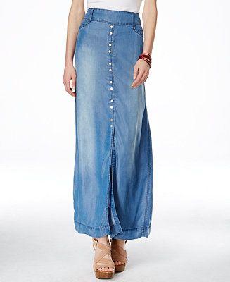 e23a28e12 INC International Concepts Front-Slit Denim Maxi Skirt, Only at Macy's -  Skirts - Women - Macy's