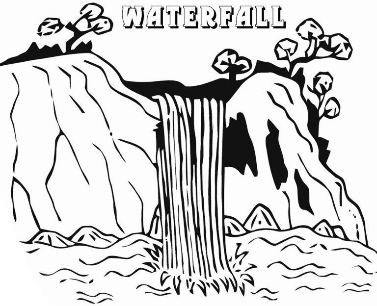 Waterfall Coloring Pages Coloring Pages For Kids Coloring Pages