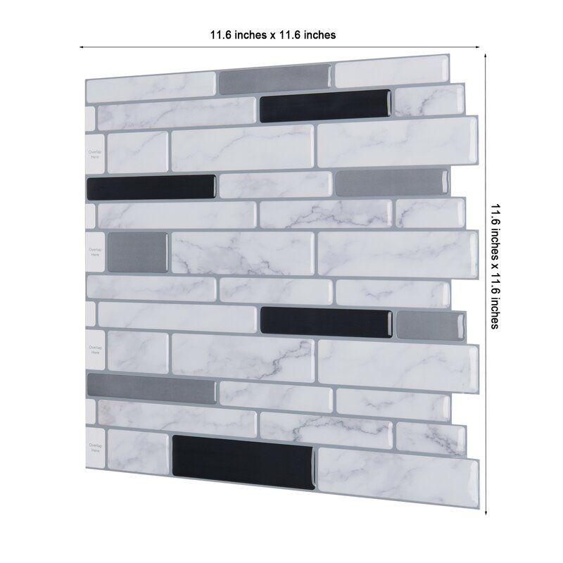 """12"""" x 12"""" PVC Peel & Stick Subway Tile Stick on tiles"""