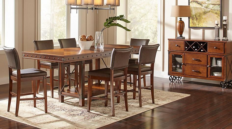 Grayish Brown Tanshire Counter Height Dining Room
