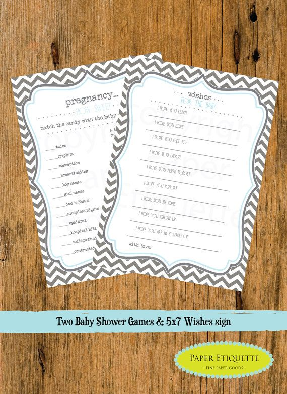 INSTANT UPLOAD 2 Baby Shower Games Chevron Gray by PaperEtiquette, $8.00