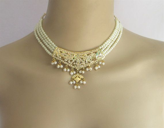 Jadau choker gold pendant pearl and rhinestones by beauteshoppe jadau choker gold pendant pearl and rhinestones by beauteshoppe mozeypictures Image collections