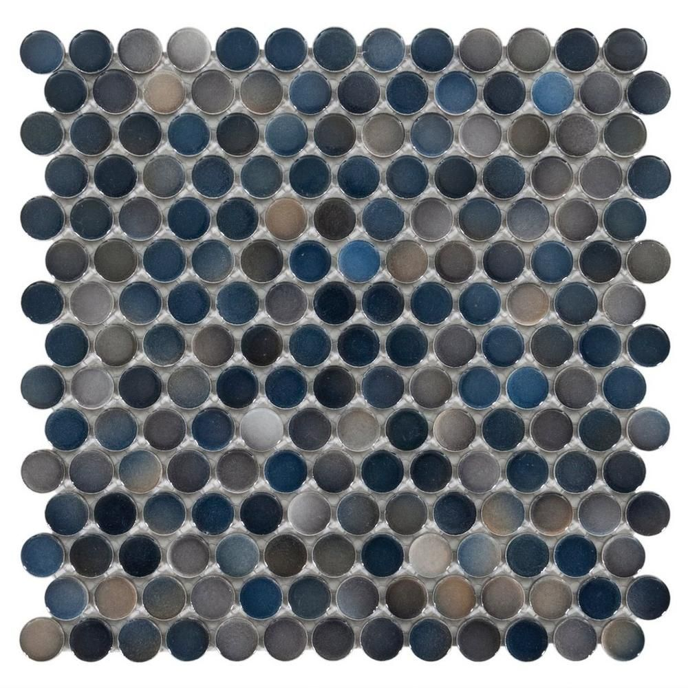 Dark Blue Multi Penny Porcelain Mosaic 10in X 12in 100053289 Floor And Decor