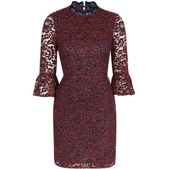Lucy Hale wearing Topshop Bell Sleeve Floral Lace Dress