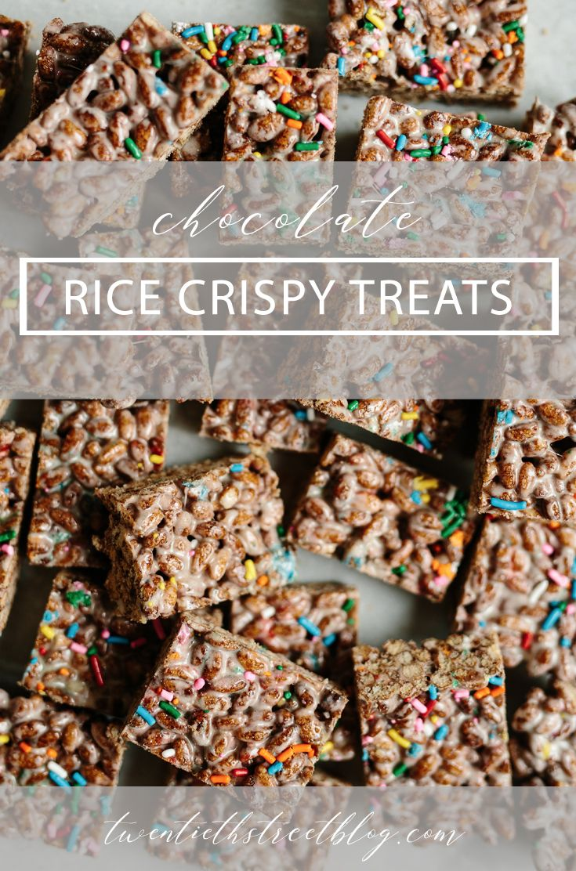 Chocolate Rice Crispy Treats with sprinkles by Stephanie