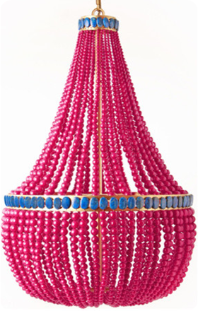 Hot Pink Painted Bead Chandelier | Chandeliers galore ...