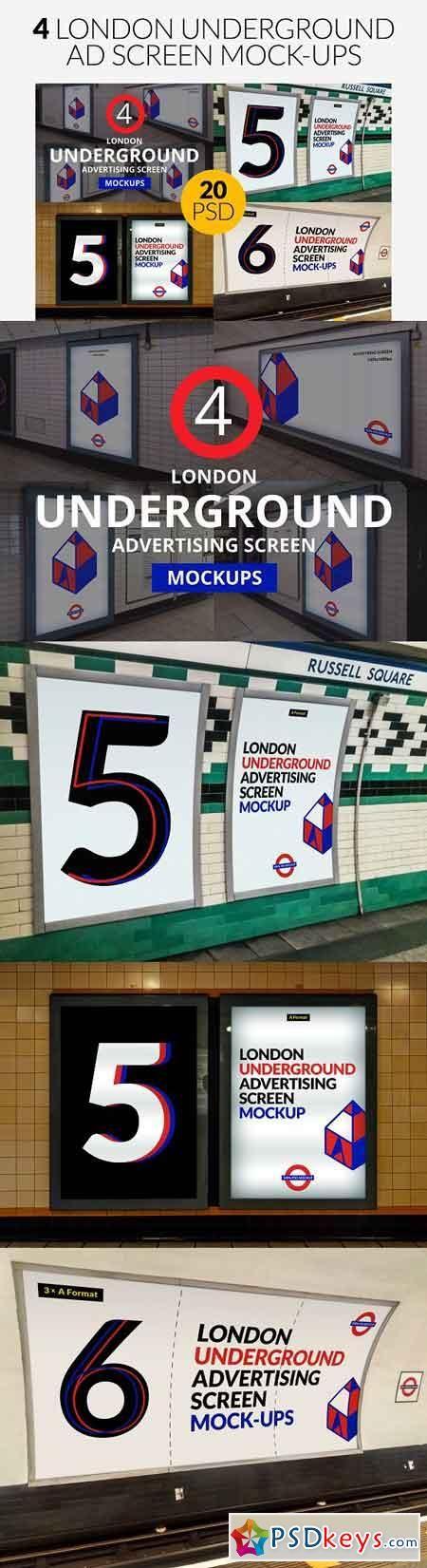 4 London Underground Mock-Ups Bundle 2532376 | psd keys