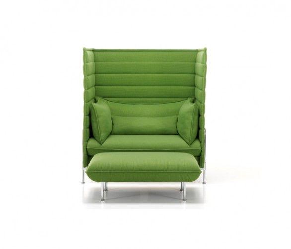 Alcove Highback Love Seat I Ottoman