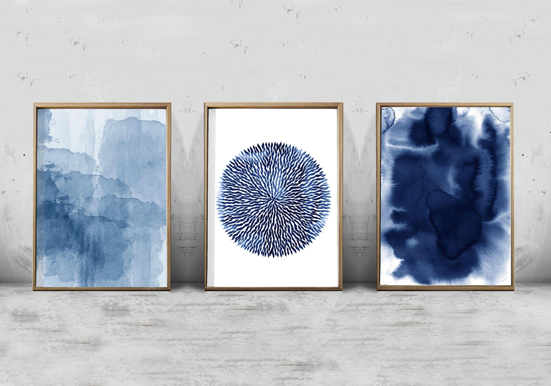 Abstract Art Prints Watercolor Set Of 3 Indigo Blue Navy Wall Art Splatter Minimalist Art Scandina Minimalist Art Abstract Scandinavian Art Abstract Art Prints
