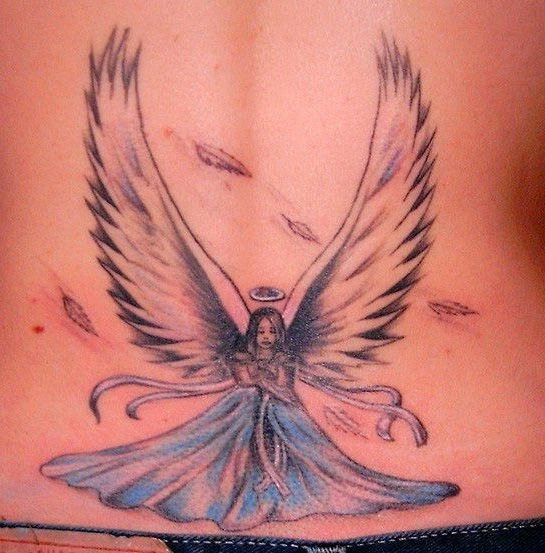 99 Breathtaking Angel Tattoos With Meaning: Cute Fairy Angel Tattoo On Lower Back For Girl