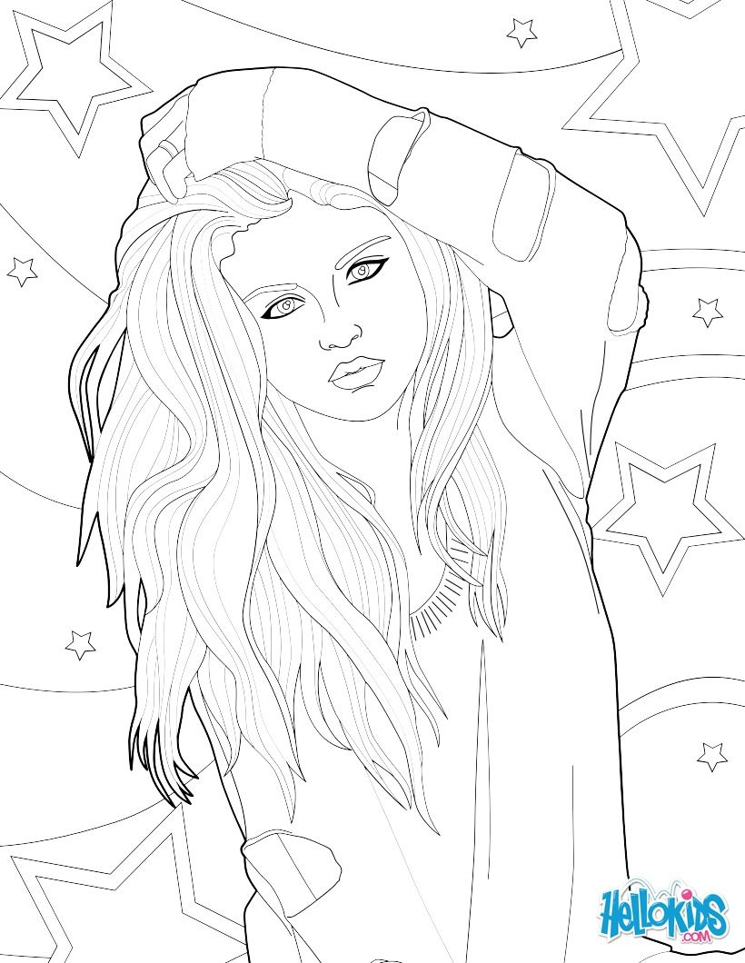 Fantastic coloring picture of Selena Gomez coloring page