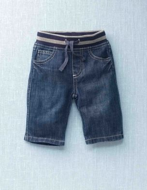 jeans without front closure & gathered elastic waist