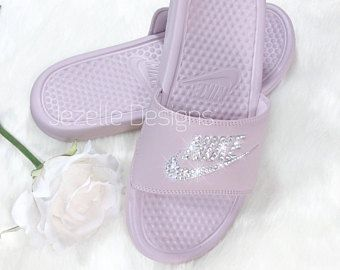 9a81648e788a Rose Gold Metallic Nike Slide Sandals - Women s Bling Nike Benassi Sliders  - Custom Hand Jeweled w  Swarovski Crystals -Jezelle Designs
