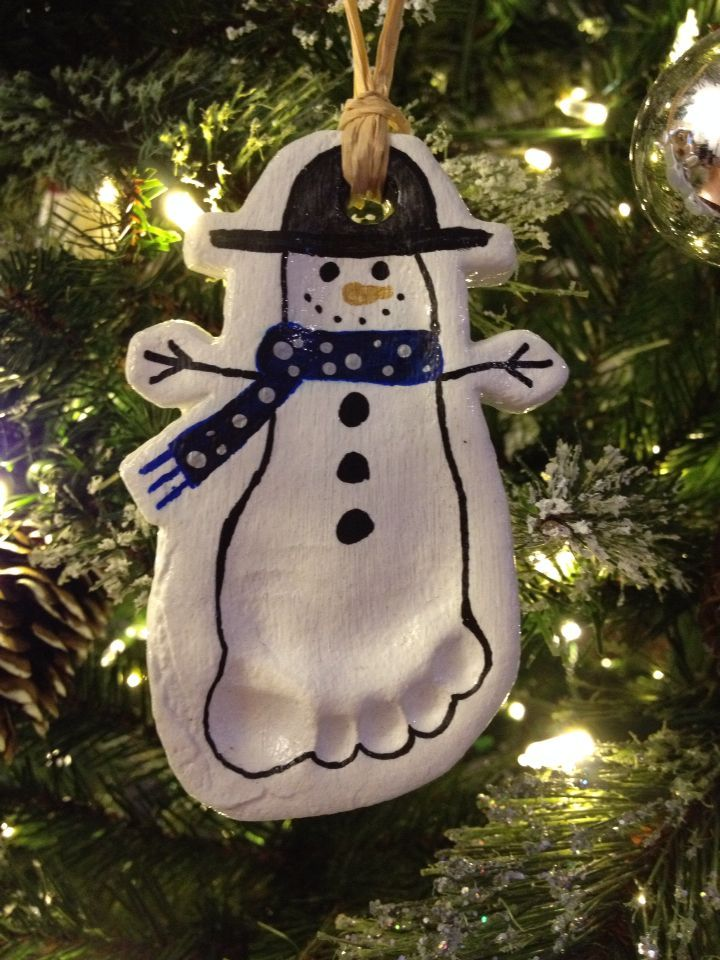Salt Dough Baby Footprint Snowman Christmas Tree O Baby